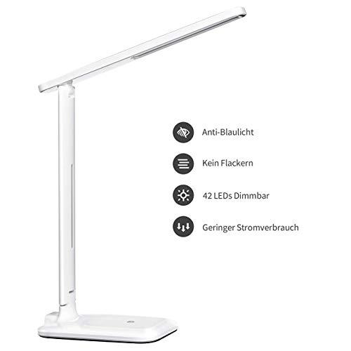 TOPELEK Schreibtischlampe 42 LED Tischlampe, 3 Farb-und 3 Helligkeitsstufen, Tischleuchte mit Touch Control-Taste, Farbtemperatur Speicherfunktion für Büro, Lesen, Studieren, Weiß