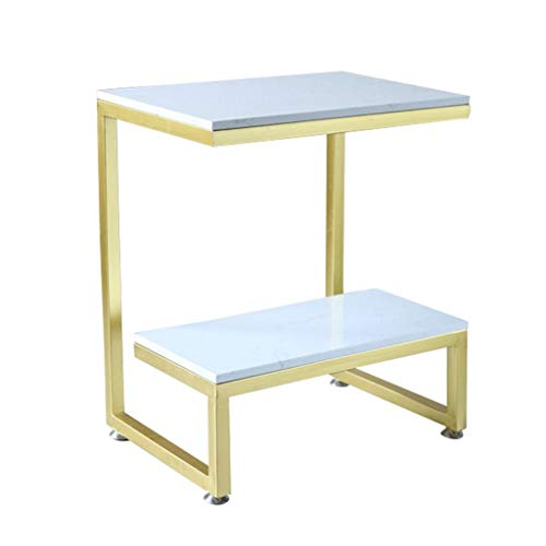 Tables Salon de Style européen Petite Basse Chambre à Coucher de thé étagère à côté du canapé Balcon Fleur Stand Petite Basse bibliothèque créative (Color : Gold, Size : 50cm*35cm*50cm)