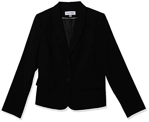 Calvin Klein Women's Two Button Lux Blazer, Standard, & Plus, Black, 14 Petite