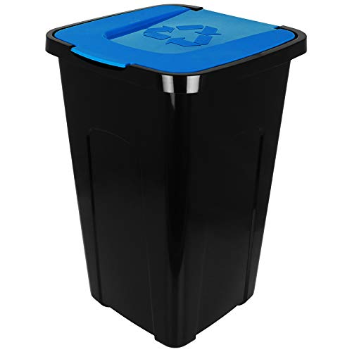 TW24 Abfalltonne 50L Recycling mit Farbauswahl Mülltonne mit Klappdeckel Mülleimer Abfalleimer (Blau)