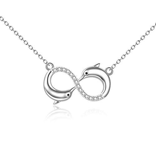 POPLYKE Dolphin Necklace 925 Sterling Silver Dolphin Infinity Necklace for Women, Dolphin Jewelry Valentine's Day Gifts
