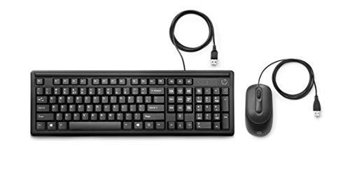 HP - PC Tastiera e Mouse 160 USB, Indicatore LED Blocco Maiuscole, Poggiapolsi Incorporato, 3 tasti di scelta rapida, mouse sensore ottico da 1000 dpi, nera