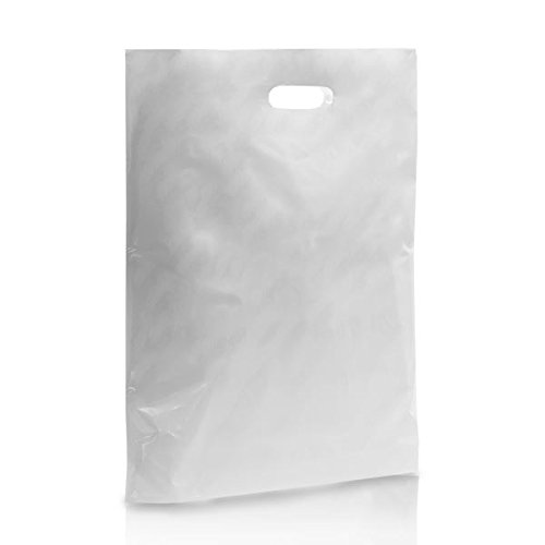 """500 Blanc Patch Poignée Transporteur Cadeau Retail Shopping 22/""""x18/""""+3/"""" sacs en plastique"""