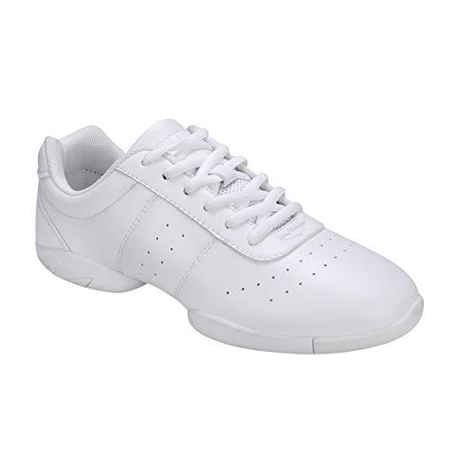 Gtagain Jazz Tanzschuhe Training Schuhe Damen - Leder Lace Up Laufschuhe Gymnastik Schuh Modern Turnschuh Sneakers Fitness Cheerleader Gym Sport Freizeit