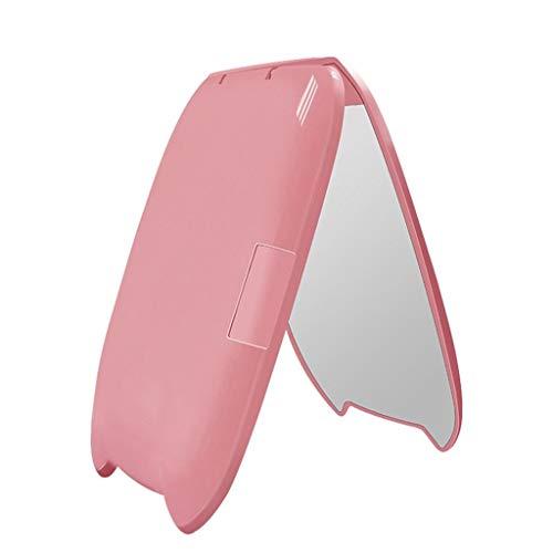 Miroir De Maquillage Miroir Pliant Portable LED Lumière D'appoint Miroir De Toilette (Color : Pink)