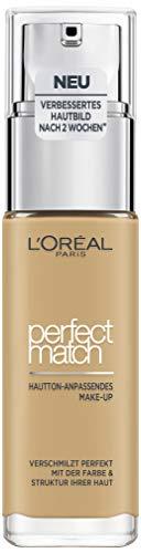 L'Oréal Paris Make up, Flüssige Foundation mit Hyaluron und Aloe Vera, Perfect Match Make-Up, Nr. 4.D/4.W Golden Natural, 30 ml