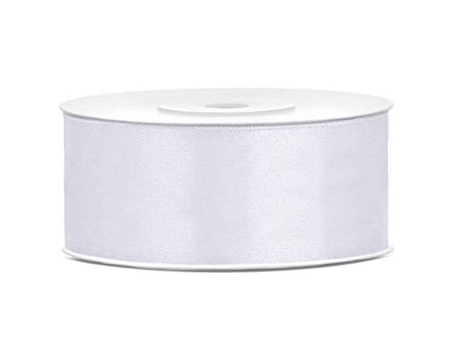 25mm x 25m Rolle Satinband Geschenkband Schleifenband Dekoband Satin Band (Weiß)