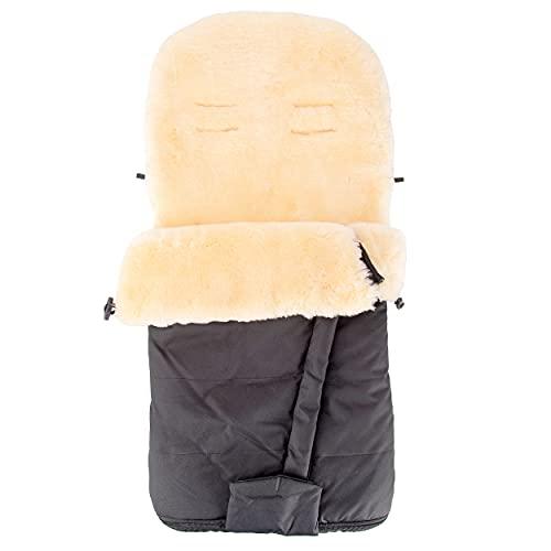 Merauno® Baby Lammfellfußsack Kinderwagen Fellsack Kuscheliger Buggy Kinderwagen-Fußsack aus medizinischem Fell Wind-und Wasserdicht Mit Gurtschlitzen Fußöffnung mit Reißverschluss 100×50cm