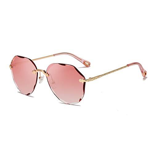 AEVOGUE Sunglasses For Women Oversized Rimless Diamond Cutting Lens Sun Glasses AE0534 (Gold Frame/Gradient Pink)