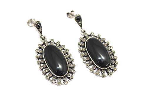 PH - Pendientes hechos a mano para mujer, plata de ley 925, ónix negro, piedras de marcasita G
