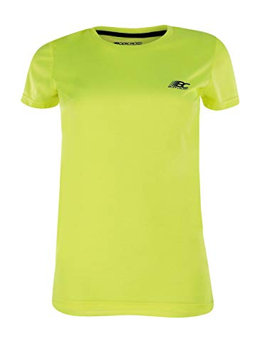 BODYCROSS Maillot Manches Courtes Col Rond Femme Paz Jaune Fluo Running, Jogging, Training - Léger, Respirant, Anti-Bactéries et Anti-Odeurs