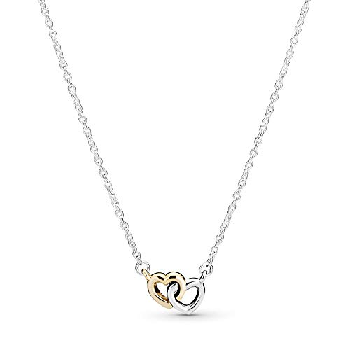 Pandora Jewelry Interlocked Hearts Collier Sterling Silver and 14K Yellow Gold Necklace, 17.7'