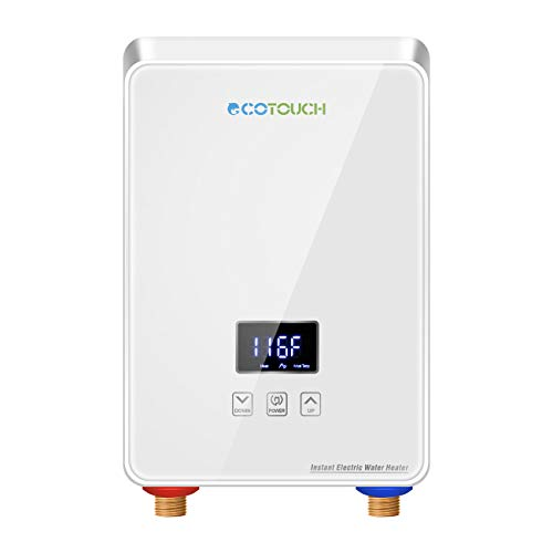 Tankless Water Heater Electric 240V, ECOTOUCH Point-of-Use Hot Water Heater Digital Display 5.5kW, White