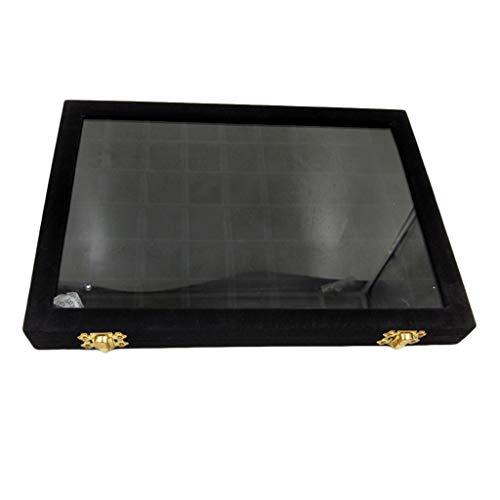 MagiDeal Velvet Jewelry Tray Caja con Cerradura Anillo Almacenamiento de Diamantes con Piedras Preciosas con Estuche con Tapa de Vidrio - Negro