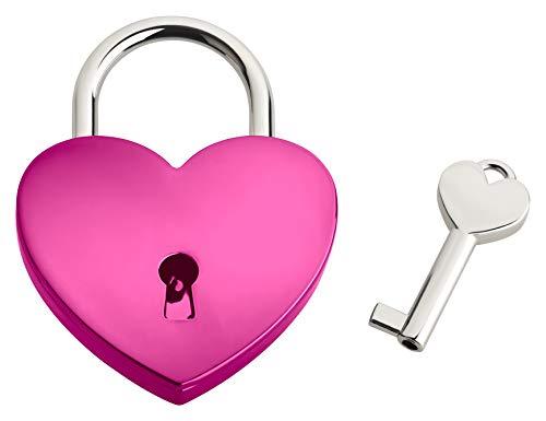 Liebesschloss In Herzform ♥ | Herzschloss Mit Schlüssel & Samtsäckchen Als Liebesgeschenk | Pink | Ohne Gravur