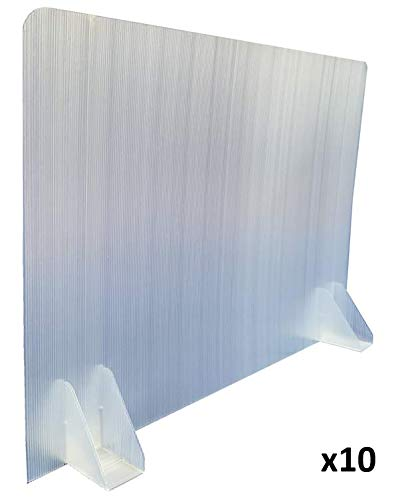 "KMINA - Sneeze Guard for Desk (x10 Units), Office Desk Partitions and Dividers, Office Desk Divider Panel, Protective Stand, Divider Barrier for Office, Desk Partitions Made of Plastic (28"" x 20"")"