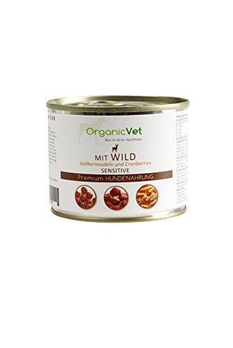 ORGANICVET Hund Nassfutter Sensitive Wild mit Vollkornnudeln und Cranberries, 6er Pack (6 x 200 g)