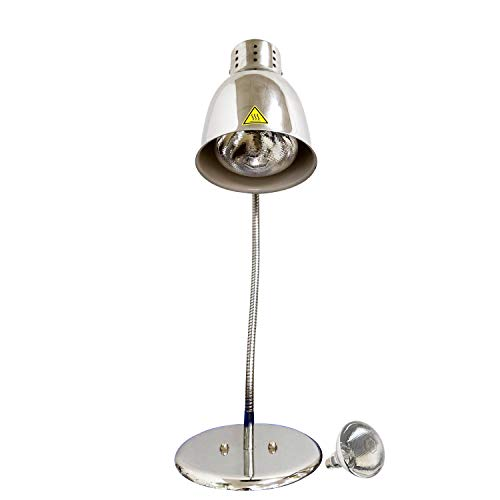 KOUWO Commercial Food Heat Lamp With Bulb Fried Food Warming Lamps Hot Food Warmer Lights For Buffet Bar Parties Catering (Silver(Single Head))