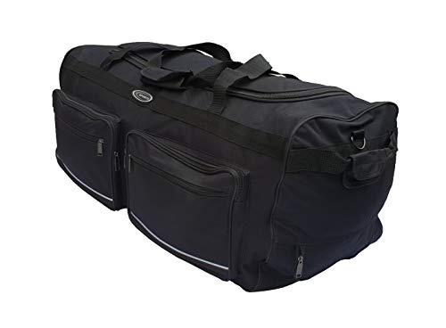 Weiche Reisetasche Sport Koffer Trolley groß mit Rädern Größe L-100L, XL-115L, XXL-150L, XXXL-200L Schwarz und Blau. Schwarz Schwarz  115L