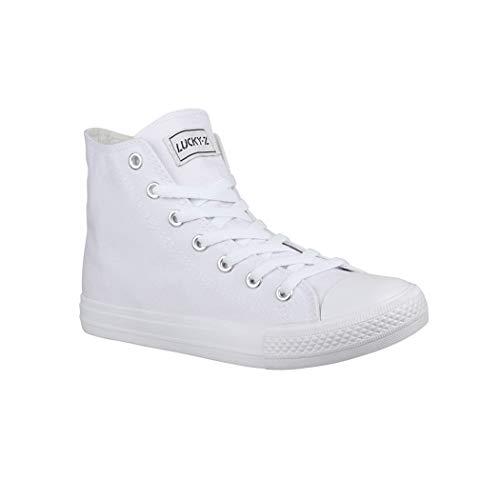 Elara Unisex Sneaker Damen Herren High Top Chunkyrayan CA014/CB019 AllWhite-38