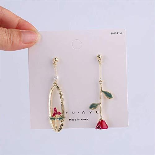 DREZEA. Rose Flower Earrings Crystal Dangle Earrings Drop Earrings Earring Jewelry Gift for Women