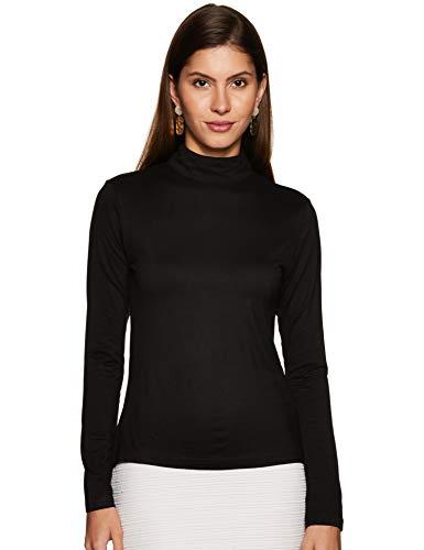 BESIVA Women's Plain Regular fit Top (BLS1120C_M_Black Medium)