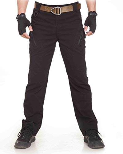 UR MAX BEAUTY Pantalón Táctico IX9 para Hombres Pantalón De Carga Multibolsillo con Entrenamiento Urbano para Uso Táctico Al Aire Libre En Espías Urbanas,Black,M