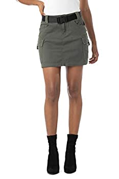 Almost Famous Juniors Denim Skirts for Women Cargo with Pockets Olive