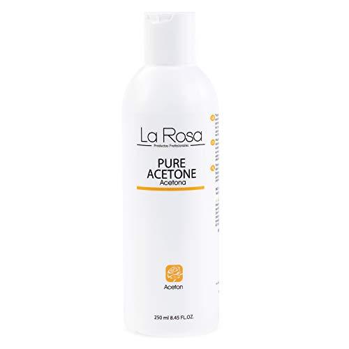 La Rosa, Acetone Nail Polish Remover 100% Pure for all Varnish, UV/LED Gel Soak Off, Nail Glue, Nail Tips acrylic false nails Aroma, transparent, lemon, 250 ml