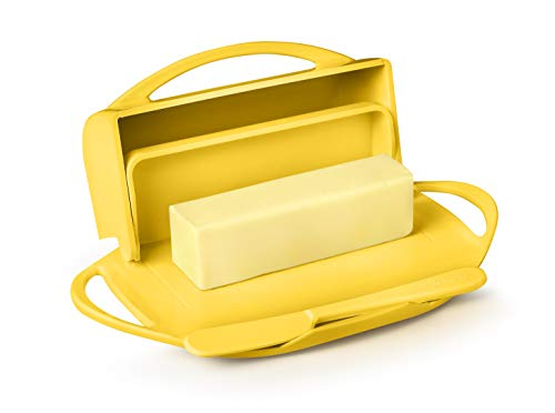 Butterie Flip-Top Butter Dish with Matching Spreader (Yellow)
