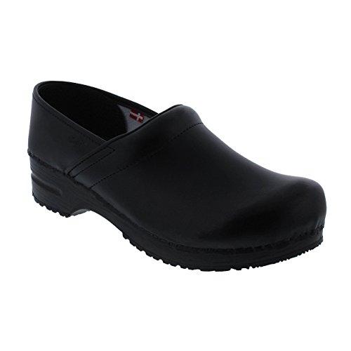 Sanita Professional geschlossener Clog, Lackleder | Original handgemachte, Flexible Leder-Holzclogs für Damen, Größe: 35, Schwarz