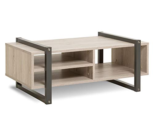 expendio Couchtisch Björn 57 Sorrento Eiche 100x60x40 cm Sofatisch Beistelltisch Wohnzimmertisch Tisch Industrial-Design