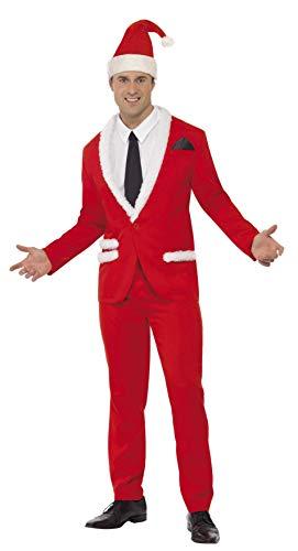 Smiffys, Herren Cooler Weihnachtsmann Kostüm, Jacke, Hose, Mütze, Mock-Hemd und Krawatte, Größe: M, 33562
