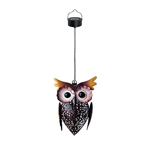 Luces solares de búho, luces solares de jardín hueco LED Lámpara impermeable de la lámpara Owl Decoración, Colgando Al aire libre Vintage Metal Linternas para jardín Patio Porche Decoración Regalos
