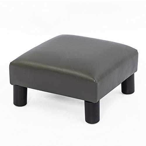 Joveco Ottoman Footrest Stool Small PU Leather Square Footstool (Grey)