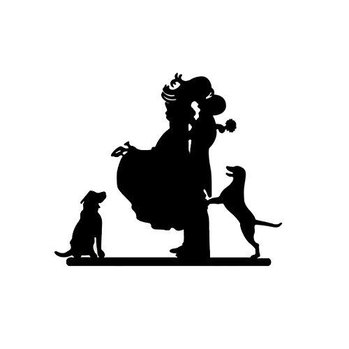 VORCOOL novia y novio con silueta de perros decoración para tarta para boda (negro)