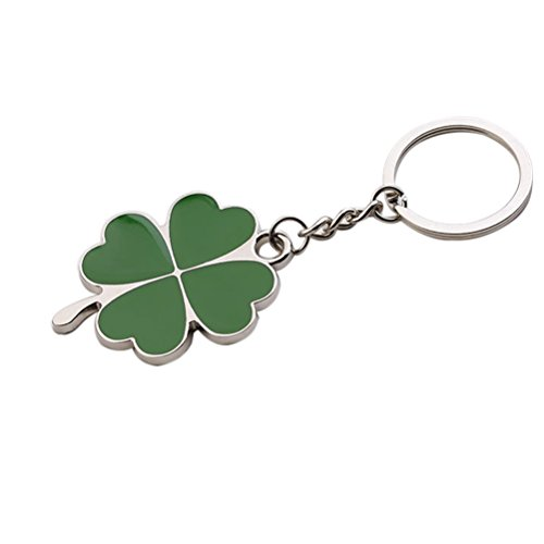 Llavero con diseño de trébol de la suerte, 4 hojas, brillante y trébol