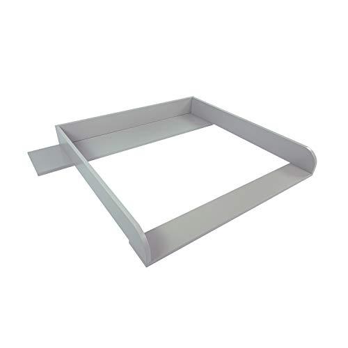 Puckdaddy Wickelaufsatz Aaron - 108x80x10 cm, Wickelauflage aus Holz in Grau, hochwertiger Wickeltischaufsatz, passend für IKEA Hemnes Kommoden