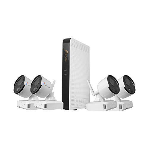 Nivian Kit videovigilancia Wifi,FullHD 1080p(Sin HDD)-Cámaras a batería aptas para interior y exterior IP66–Visión nocturna-Detección de movimiento- P2P a través de QR-Fácil instalación sin cables