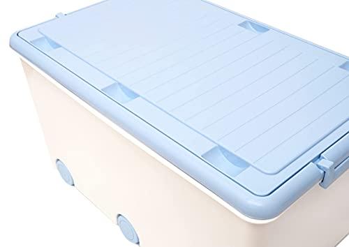 LAPSI® Spielzeugkiste, Aufbewahrungsbox mit 6 Rollen mit Deckel auf Rädern Weiß Hase - 5