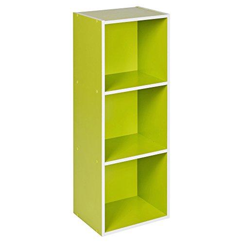 URBN LIVING   1, 2, 3, 4 Ripiani, in Legno con Contenitore scaffale Libreria, Scaffale in Legno, Verde, 3 Ripiani