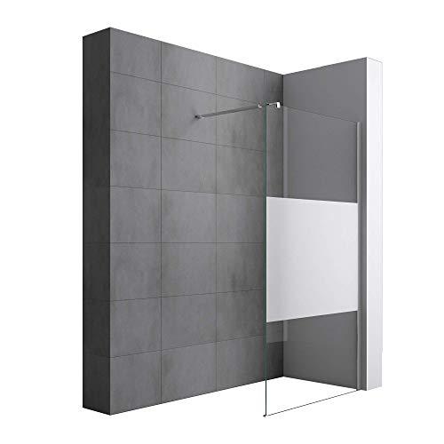 Sogood Luxus Duschwand Duschabtrennung Bremen1MS 90x200 Walk-In Dusche mit Stabilisator aus Echtglas 8mm ESG-Sicherheitsglas Klarglas inkl. Nanobeschichtung