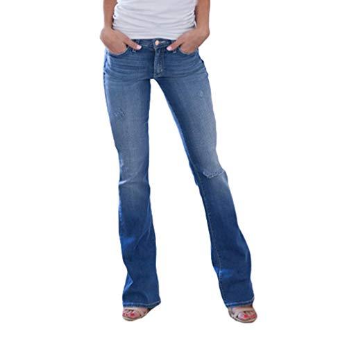 Yying Mujer Vaqueros Pantalones Acampanados Cintura Alta Slim Fit Jeans Pantalones Bootcut Elasticos Skinny Pantalones Mezclilla Talle Bajo Destruido Rasgado Pantalones de Campana