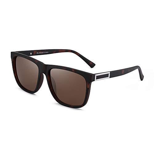 GLINDAR Gafas de Sol Retro Polarizadas Para Hombres y Mujeres Gafas de Espejo Cuadradas Vintage UV400 Montura de Tortuga / Lente Marrón