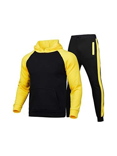 Geagodelia Juego de 2 piezas de ropa deportiva de invierno para hombre, ropa de chándal de color a contraste con sudaderas de manga larga con capucha y pantalones deportivos amarillo M