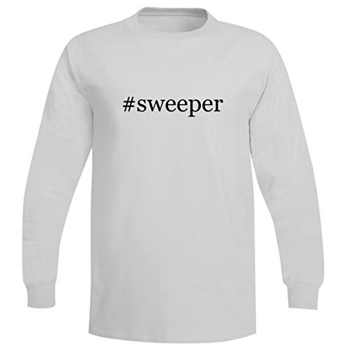 The Town Butler #Sweeper - A Soft & Comfortable Hashtag Men's Long Sleeve T-Shirt, White, Medium