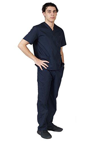 M&M SCRUBS Men Scrub Set Medical Scrub Top and Pants L Dark Navy Blue