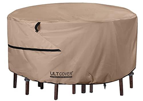 ULTCOVER 라운드 파티오 가구 커버 - 의자 세트 커버 76인치가 있는 야외 방수 테이블