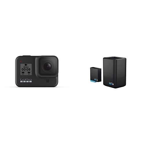 GoPro HERO8 Black - wasserdichte 4K-Digitalkamera mit Hypersmooth-Stabilisierung, Touchscreen und Sprachsteuerung - Live-HD-Streaming + Dualladegerät + Akku für HERO8 Black/HERO7 Black/HERO6 Black
