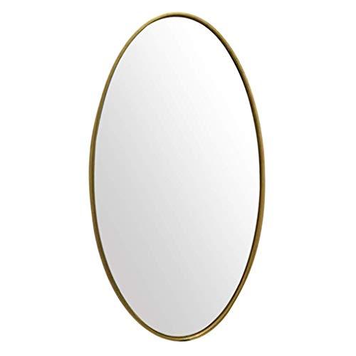 Espejo maquillaje Espejos ovalados pared Espejo maquillaje nórdico para baño Espejo maquillaje vidrio HD Herrajes para colgar Marco metal Kit fijación para pasillo, sala estar, dormitorio, decoració